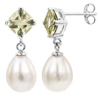 DaVonna Sterling Silver White Long Shape Freshwater Pearl and Quartz Dangle Earrings (8 - 8.5mm)