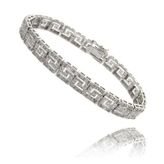 Finesque Sterling Silver 1ct TDW Diamond Greek Key Design Bracelet