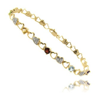 Dolce Giavonna 18k Gold over Silver Multi-gemstone and Diamond Accent Heart Bracelet