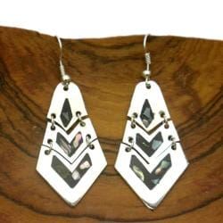 Handmade Alpaca Silver Articulated Mother of Pearl Inlay Earrings (Mexico)
