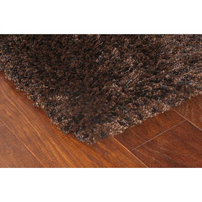 Shop Manhattan Tweed Brown/ Black Shag Rug