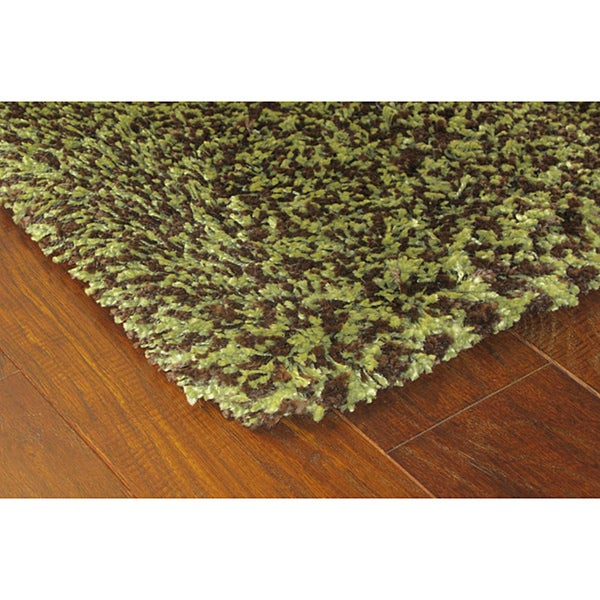 Manhattan Tweed Green/ Brown Shag Rug (2u00273 X ...