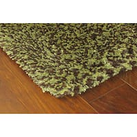 Manhattan Tweed Green/ Brown Shag Rug - 2'3 x 7'9