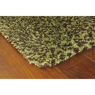 Manhattan Tweed Green/ Brown Shag Rug - 2'3 x 7'9