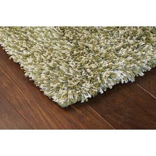 Manhattan Tweed Green/ Ivory Shag Rug (2'3 x 7'9)