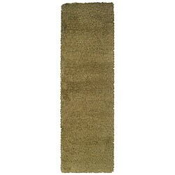 Manhattan Tweed Green/ Gold Shag Rug (2'3 x 7'9)