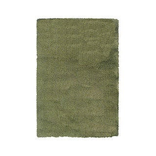 Manhattan Tweed Green/ Blue Shag Rug (4' x 6')