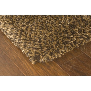 Manhattan Tweed Brown/ Gold Shag Rug (4' x 6')