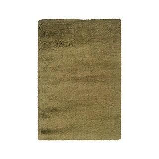 Manhattan Tweed Green/ Gold Shag Rug (4' x 6')