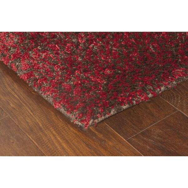 Manhattan Tweed Red/ Brown Shag Rug (4' x 6') - 4' x 6'