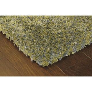 Manhattan Tweed Green/ Blue Shag Rug (5' x 8')