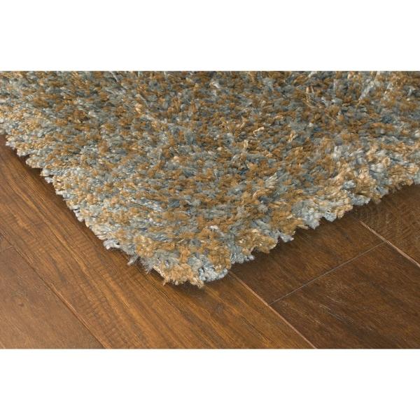 Manhattan Tweed Blue/ Gold Shag Rug (5' x 8')