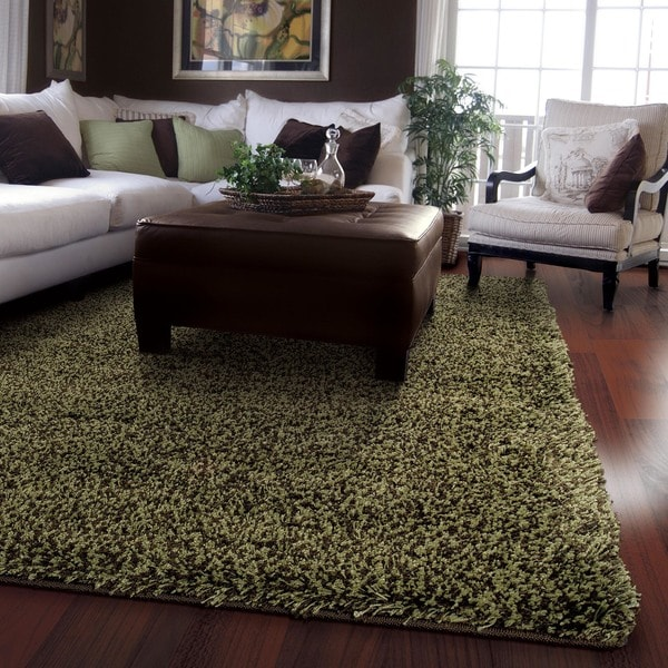 Shop Manhattan Tweed Green Brown Shag Rug 5 X 8
