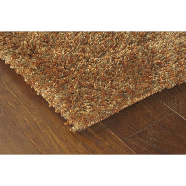 Manhattan Tweed Brown/ Gold Shag Rug (5' x 8')