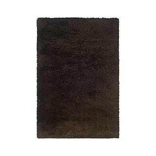 Manhattan Tweed Brown/ Black Shag Rug - 6'7 x 9'6