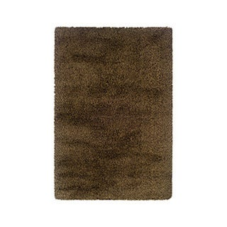 Manhattan Tweed Brown/ Gold Shag Rug (6'7 x 9'6)