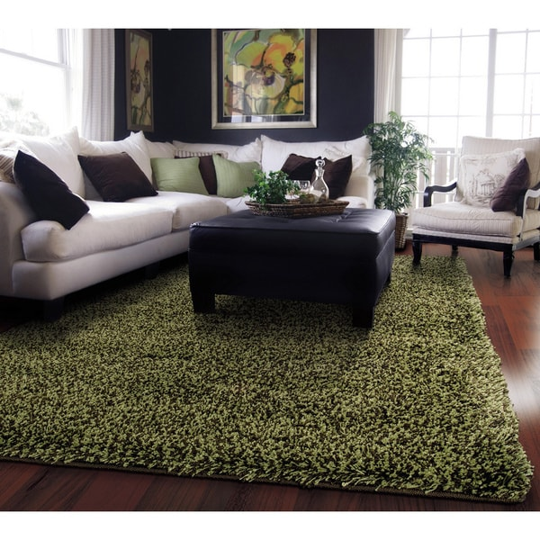 Manhattan Tweed Green/ Brown Shag Rug (6'7 x 9'6)