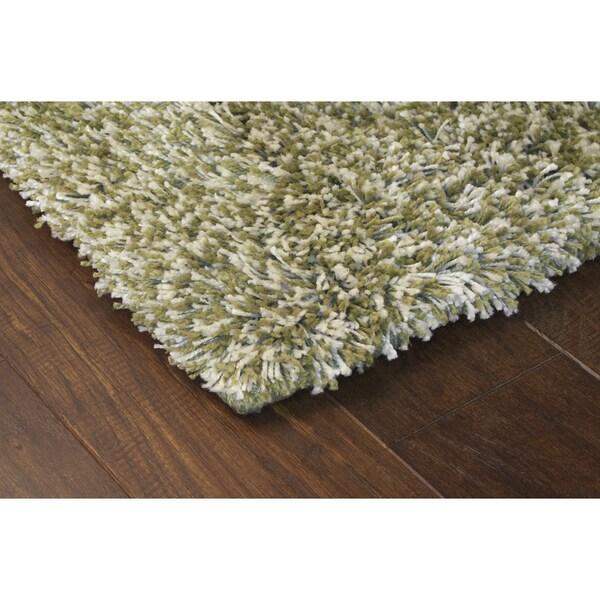 """Manhattan Tweed Green/ Ivory Shag Rug (6'7 x 9'6) - 6'7"""" x 9'6"""""""