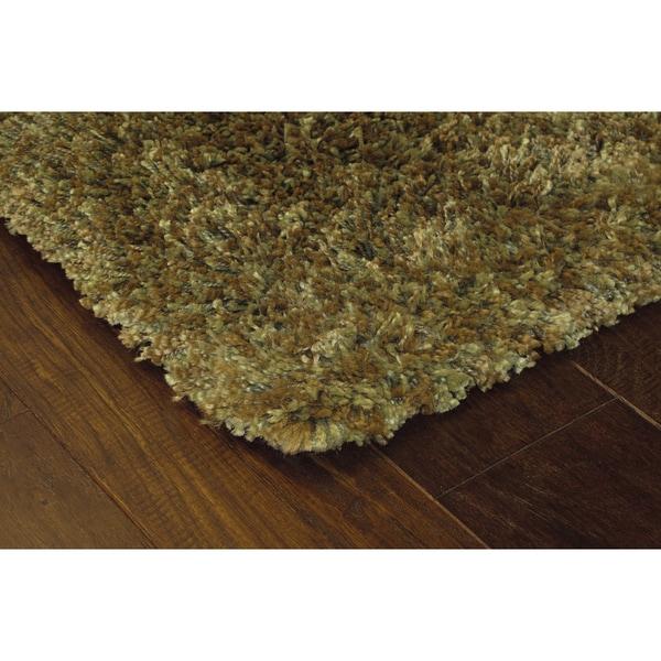 Manhattan Tweed Green/ Gold Shag Rug (6'7 x 9'6)
