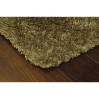 Manhattan Tweed Green/ Gold Shag Rug - 6'7 x 9'6