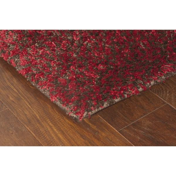 "Manhattan Tweed Red/ Brown Shag Area Rug (6'7 x 9'6) - 6'7"" x 9'6"""