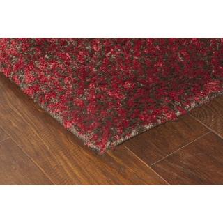 Manhattan Tweed Red/ Brown Shag Area Rug (6'7 x 9'6)