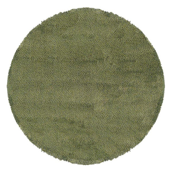 Manhattan Tweed Green/ Blue Shag Rug (8' Round) - 8'