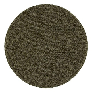Manhattan Tweed Green/ Brown Shag Rug (8' Round)