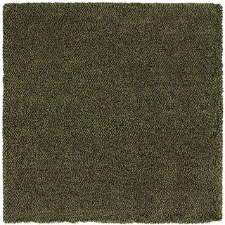 Manhattan Tweed Green/ Brown Shag Rug (8' Square)