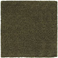 Manhattan Tweed Green/ Brown Shag Rug (8' Square) - 8'