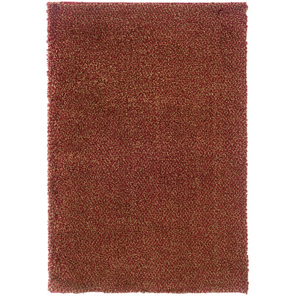 Manhattan Tweed Red/Gold Shag Area Rug - 7'10 x 11'2