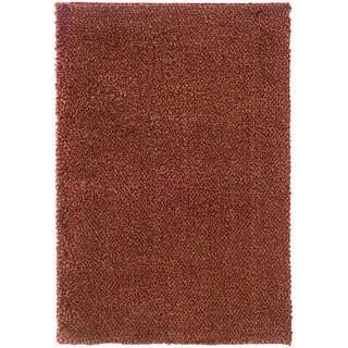 Manhattan Tweed Red/Gold Shag Area Rug (7'10 x 11'2)