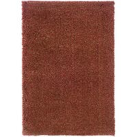 Manhattan Tweed Red/Gold Shag Area Rug - 7'10 x 11'2