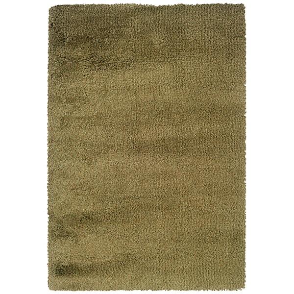 Manhattan Tweed Green/ Gold Shag Rug - 7'10 x 11'2