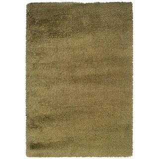 Manhattan Tweed Green/ Gold Shag Rug (7'10 x 11'2)