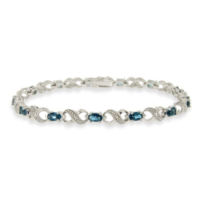 Glitzy Rocks Silver London Blue Topaz and Diamond Accent Infinity Bracelet