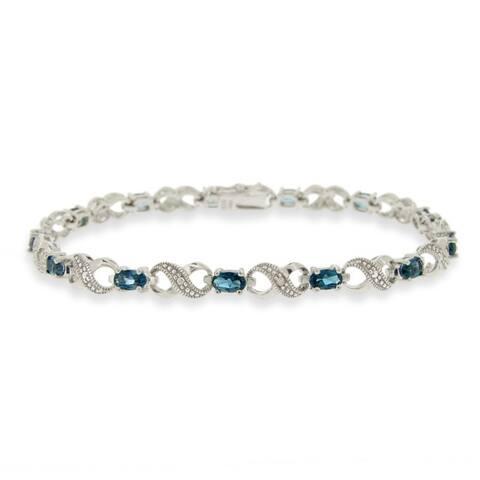 Glitzy Rocks Silver London Blue Topaz and Diamond Accent Infinity Bracelet