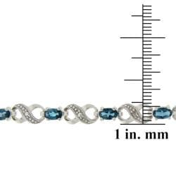 Glitzy Rocks Silver London Blue Topaz and Diamond Accent Infinity Bracelet - Thumbnail 2