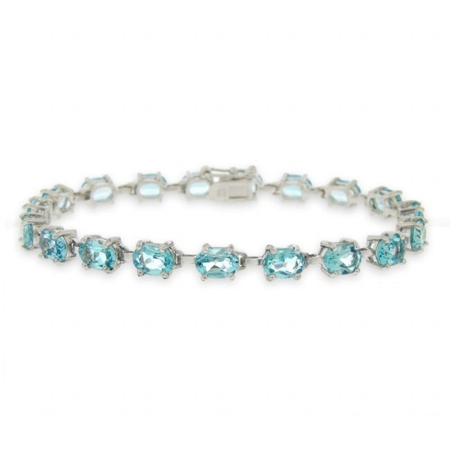 Glitzy Rocks Sterling Silver Swiss Blue Topaz Bracelet