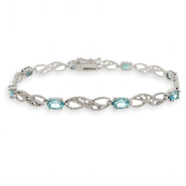 Glitzy Rocks Silver Swiss Blue Topaz and Diamond Infinity Bracelet - Thumbnail 0