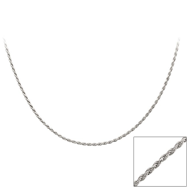Mondevio Sterling Silver 24-inch Twisted Rope Chain Necklace