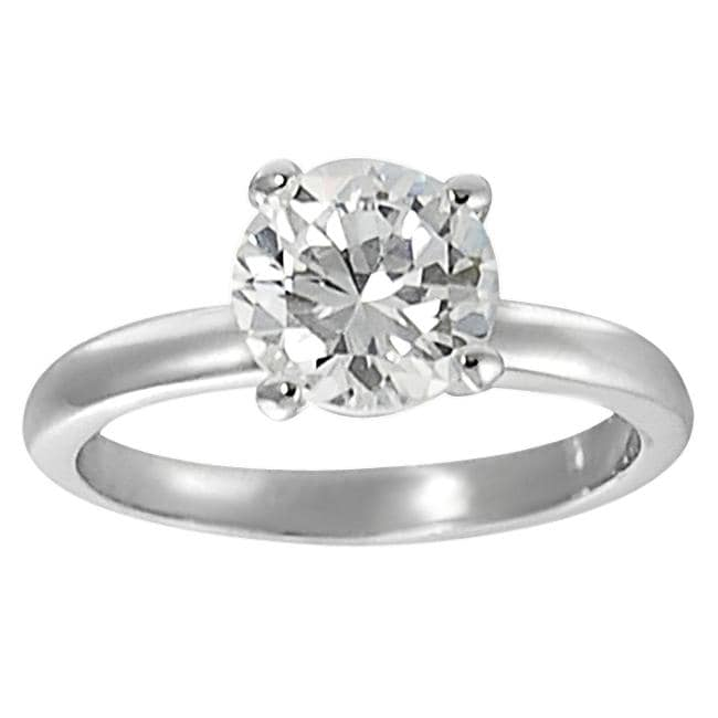 Journee Collection Silvertone Round CZ Bridal & Engagement style Ring - Thumbnail 0