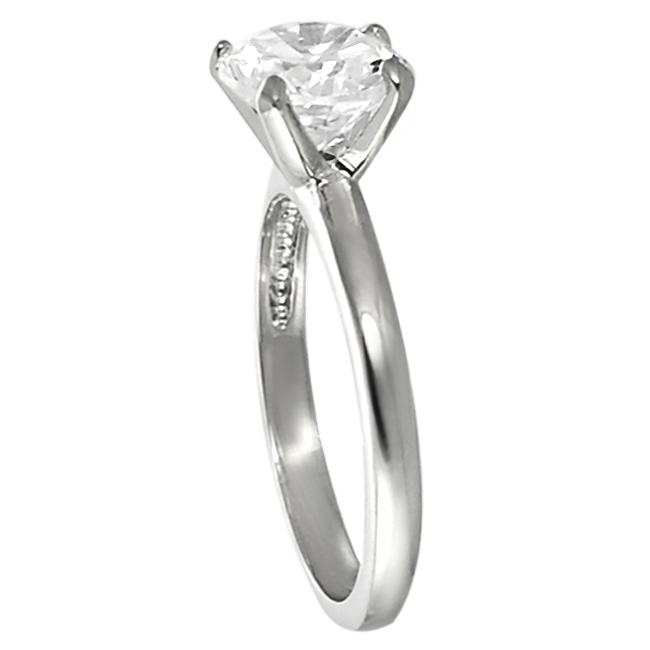 Journee Collection Silvertone Round CZ Bridal & Engagement style Ring - Thumbnail 1