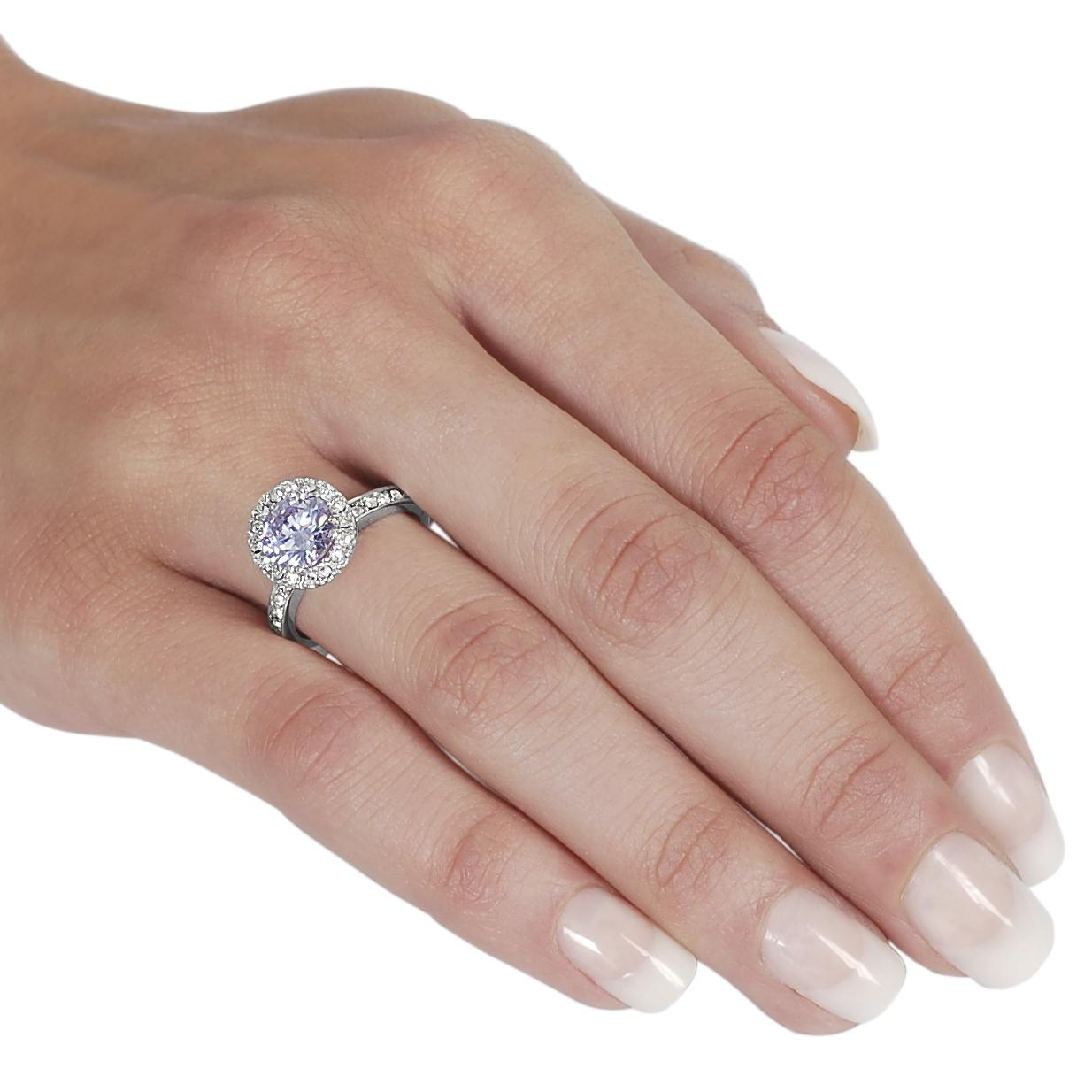Journee Collection Silvertone Round-cut Lavender and White CZ Ring