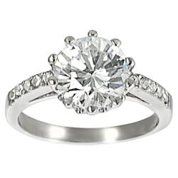 Journee Collection Silvertone Pave-set and Round Cubic Zirconia Ring