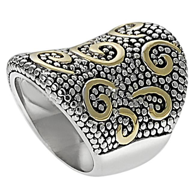 Two-tone Tapered Swirl and Bead Ring