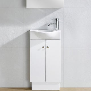 Fine Fixtures Glenwood White Wood 17-inch Single Bathroom Vanity