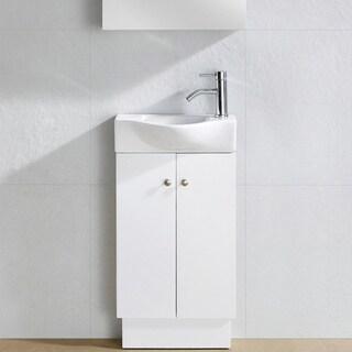 Fine Fixtures Glenwood White Wood 17-inch Single Bathroom Vanity