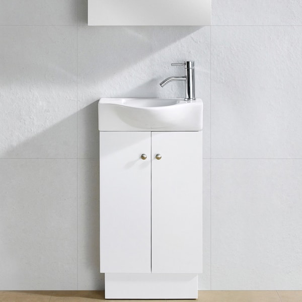 Fine Fixtures Glenwood White Wood 17 Inch Single Bathroom Vanity
