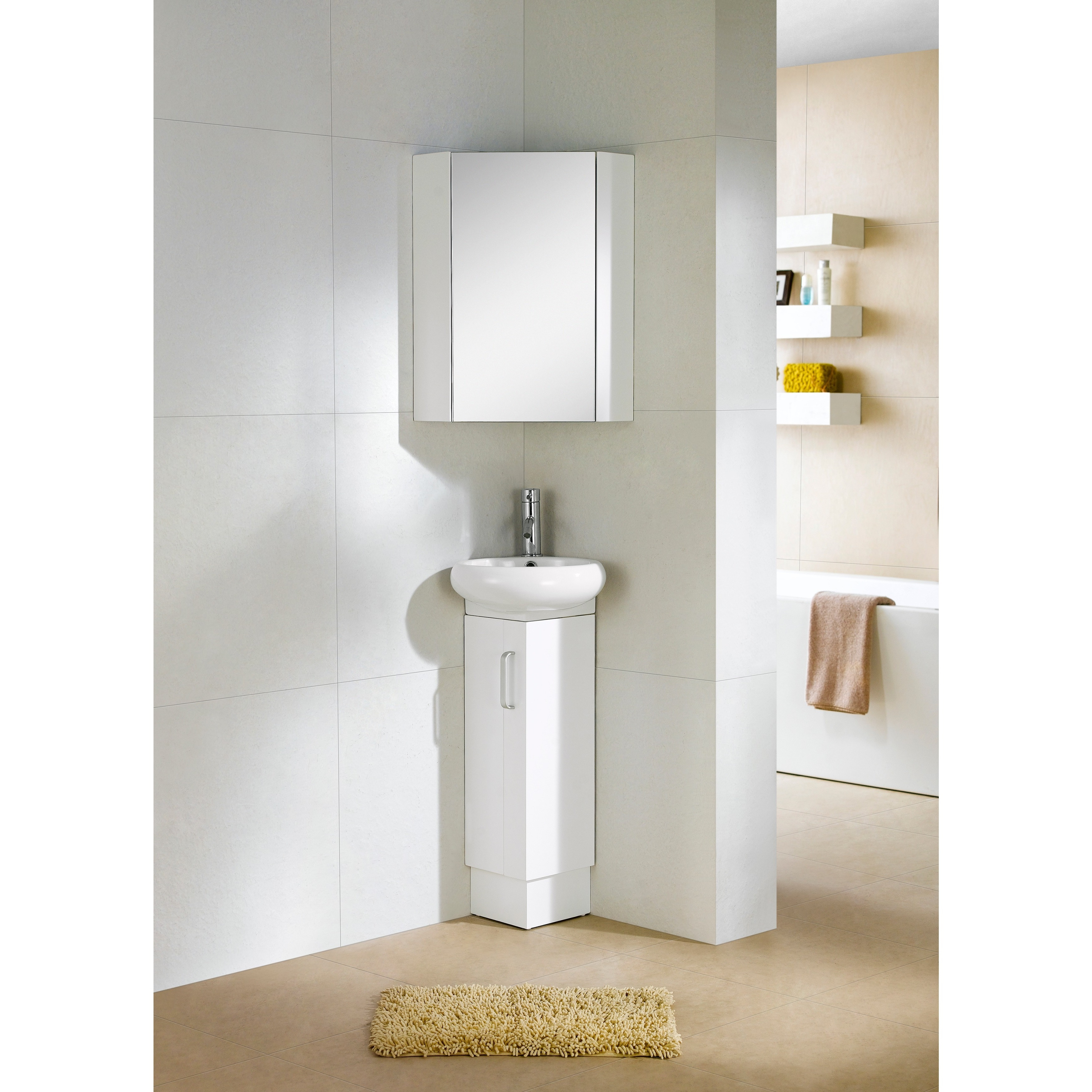 Fine Fixtures Milan Wood White Small Corner Bathroom Vani...